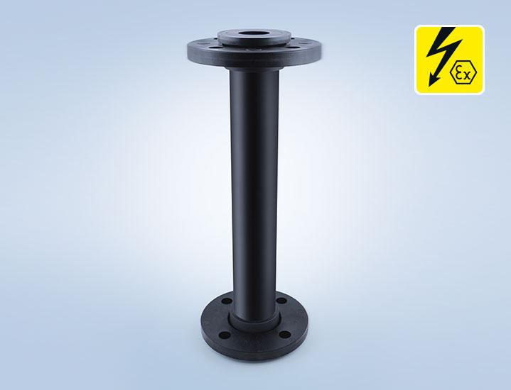 Statischer Mischer mit Flanschverbindung elektrisch leitfähig PE-el